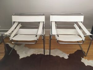 Wassily Chairs, Italian white leather, vintage