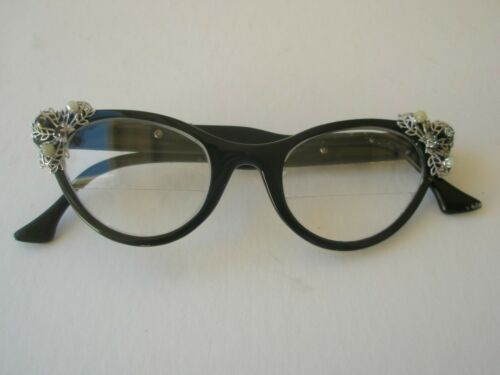Vintage Cat Eye Glasses 60s Frames Bi-Focal Readers Bejeweled Embellished Cateye