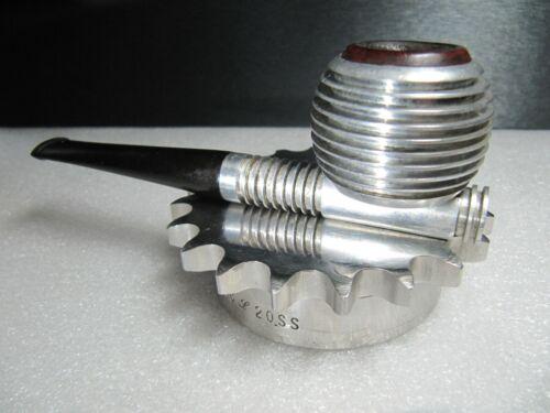 E & G Airflow Mid Century Aluminum / Briar Pipe - Rare Screw-in Stem. Excellent
