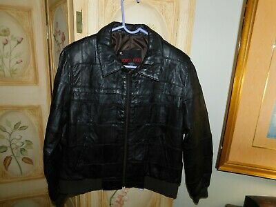 ROBERTO RUCCI Black Leather Jacket Coat Zipper Lined Size Large , used for sale  Shipping to India