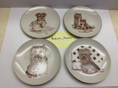 LOT of 4 YORKSHIRE TERRIER YORKIE PLATES 1981 - 84 by Laurelwood Rare 1 of 150