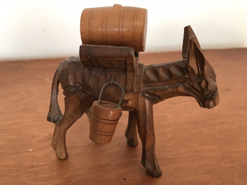 Vintage Hand Carved Wood Mule Donkey Collectable