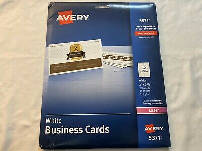 Avery White Business Cards 5371 20 Sheets 10 Per Sheet