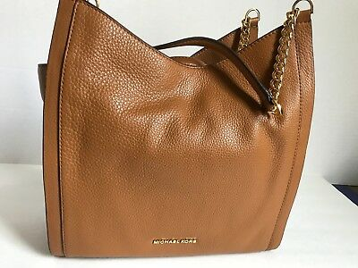 NWT Michael Kors NEWBURY ACORN MD Chain Shoulder Tote Leather Color Brown