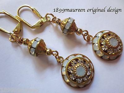 Edwardian earrings opal crystal vintage drop Art Nouveau Art Deco wedding dainty