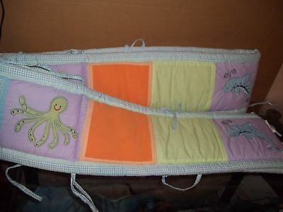 Used, Tiddliwinks Under the Sea Ocean Gingham Crib bumper Pads & Skirt Dust Ruffle Set for sale  Cambridge