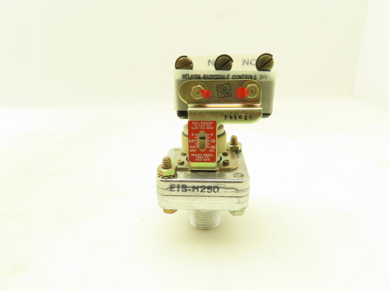 """Barksdale E1S-H250 Pressure Switch 10-250 PSI NO/NC Relay 10A 1/2"""" 1/8"""" NPT Port"""