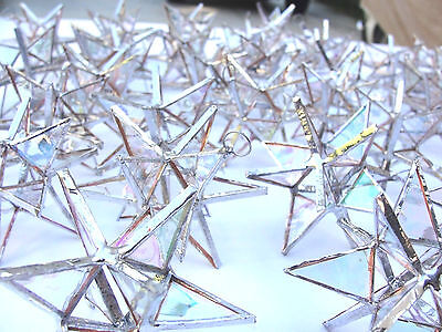Lot of 50 !!  Stained Spyglass Moravian STARS Iridescent CLEAR Christmas Ornament !
