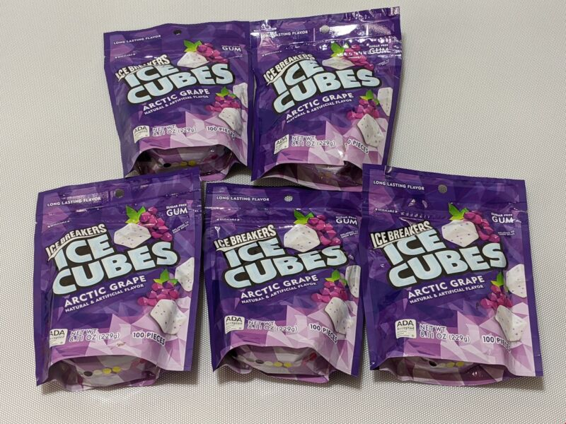 Ice Breakers Ice Cubes Chewing Gum Sugar Free 5 Pack 100 Pieces Each 07-2021 045