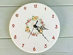 Vintage Hand Crafted Danish Wooden Wall Clock NEW QUARTZ MOVEMENT Floral Ring A