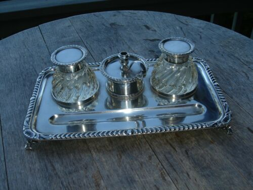 Large Sterling Silver Inkwell with Chamberstick 1912 SPRING SALE