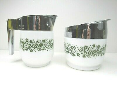 Vintage Gemco Sugar Cream Bowl SET Crazy Daisy Spring Blossom Corning Milk -