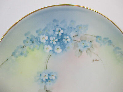 Cabinet Plate Ginori Italy Artist Signed Blue Flowers Lilac Hand Painted Vintage