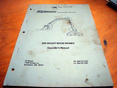 Us Mower Mid Mount Boom Mower Operators Owners Parts Catalog Book Manual