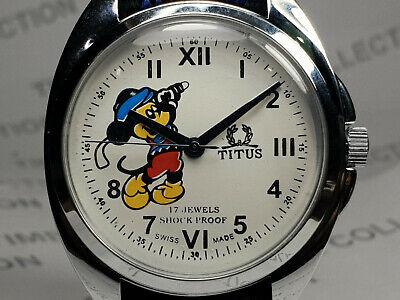 Vintage Titus Mickey Mouse Mechanical Handwinding Movement Wrist Watch WG208