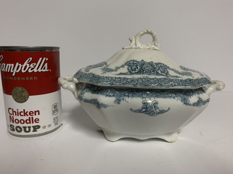 Antique Blue Transferware Small Tureen w/Lid ~ Gravy Dish, Vegetable, Condiments
