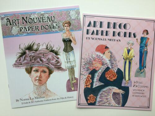 ART DECO & ART NOUVEAU PAPER DOLL BOOKS - 2 gorgeous fashion history collections