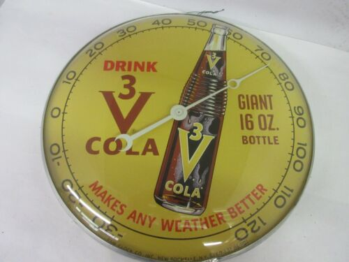VINTAGE 1960 ADVERTISING 3 V COLA SODA ROUND PAM THERMOMETER GLASS COVER  A-78