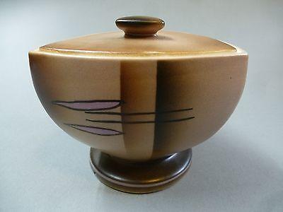 Art Deco Keramik Dose Deckeldose Spritzdekor Carstens Gräfenroda um 1925