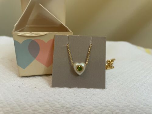 Avon Vintage 1986 Loving Hearts Simulated Birthstone Necklace - August - 15in