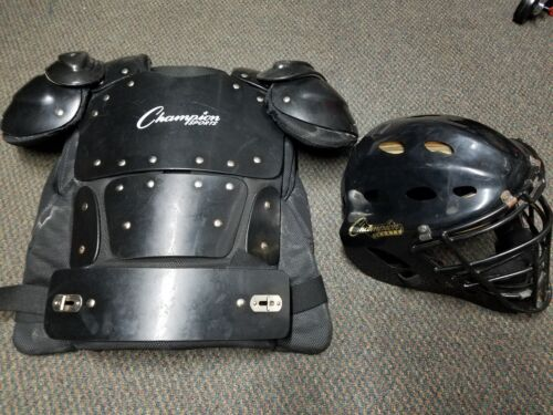 Champion Sports Helmet CH500 Shield Professional Umpire Chest Protector P200 LOT