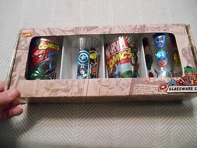 NEW Marvel Comics 4-Pack Glasses, Metallic Accents-Thor, Spiderman, Hulk, Captai