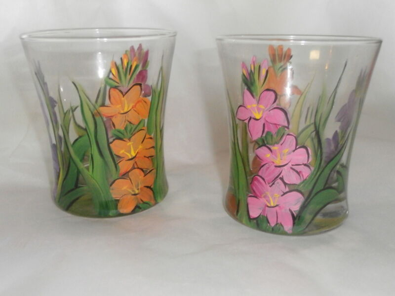 HAND PAINTED GLADIOLA 14 OUNCE  HIBALLS/ROCKS/JUICE SET OF 4/MADE IN THE USA