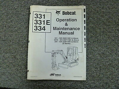 Bobcat 331 331e 334 Mini Compact Excavator Owner Operator Maintenance Manual