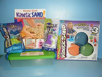 KINETIC SAND 3 COLOR SET w/ MOLDS / TOOLS / STORAGE CASE & PLAY BOOK  - Kinetic Sand Bulk