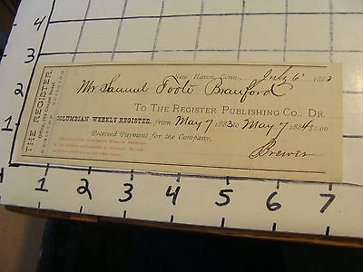 1883 Receipt  The Register Publishing Co  New Haven  Ct  Samuel Foote Branford