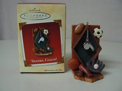Thanks Coach Football - Hallmark Ornament 2002 THANKS, COACH! Sports Baseball Basketball Football Soccer