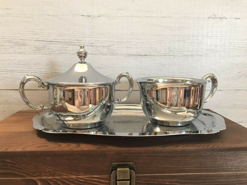 Vintage Mid Century Danny Wilson Original Chrome Sugar Creamer Set Etched Tray