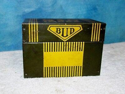Vintage BUD QSO INDEX Tin/Metal Card Box Ham Radio Advertising J0443