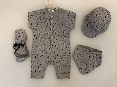 MESSAGE IN THE BOTTLE Grey Printed Cotton Newborn Baby Outfit Set | Size 1m