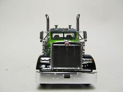 DCP 1/64 SCALE 379 PETERBILT DAY CAB LIME GREEN & BLACK  DUAL CHROME STACKS 1