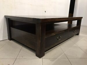 Perfect quality solid oak wood big coffee table & drawer metal runner