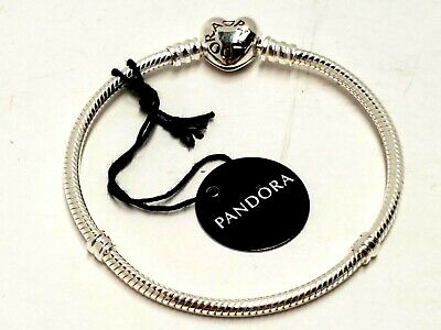 Pandora 7.1in. Moments Heart Clasp Snake Chain Bracelet STERLING SILVER 7HP