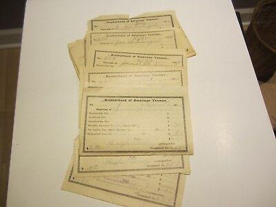 25 Brotherhood of American Yeomen membership fee receipts early 1900's