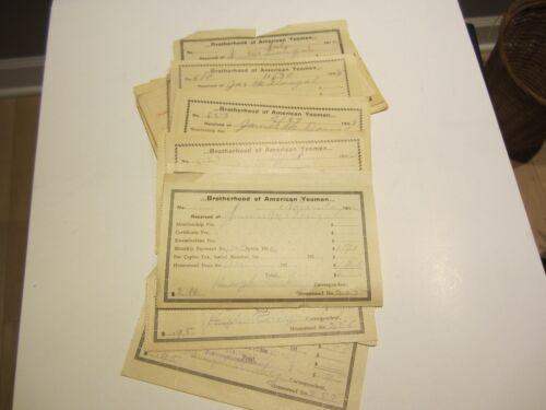 25 Brotherhood of American Yeomen membership fee receipts early 1900