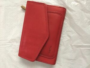 Used Red Fossil Leather Wallet
