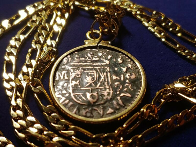 "Authentic Real 1661 Spanish Pirate Cob Coin Pendant on a 23"" Gold Filled Chain."