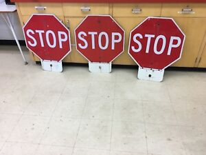 3 stop signs