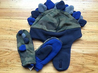 NWT Baby GAP Pro Fleece Dinosaur Trapper Hat & Mittens Olive Camo NEW -