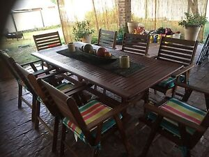 9 piece wooden outdoor setting Boronia Heights Logan Area Preview