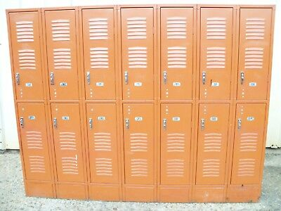 Vintage Metal Astro Orange Republic Steel Gym Employee Man Cave 7 Bay 14 Lockers