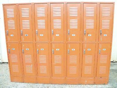 Vintage Metal Astro Orange Republic Steel Gym Employee Man Cave 7 Bay 14 Lockers