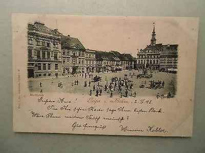 Ansichtskarte Leipa 1898 Marktplatz
