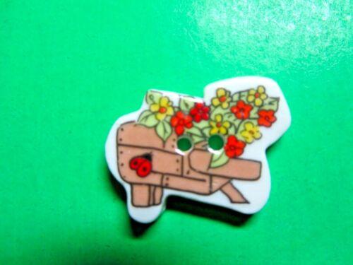 "(1) 1 1/8"" LADYBUG FLOWER GARDEN CART CERAMIC 2-HOLE BUTTON (Y188)"