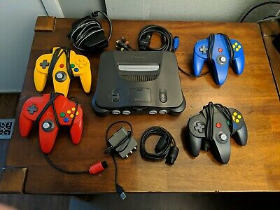 N64 Nintendo 64 Console + 4 controllers + Cords