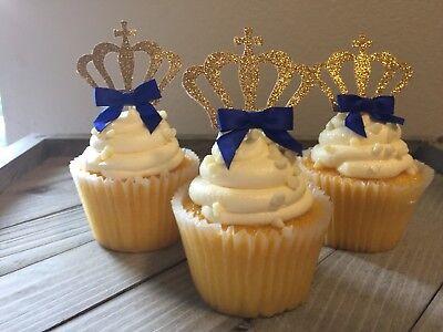 Royal Prince Crown Cupcake Toppers, Boy Prince Baby Shower, Birthday, 12 Ct. (Prince Babyshower)
